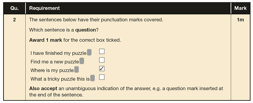 Answer 02 SPaG KS1 SATs Papers 2019 - Year 2 English Test Paper 2, Functions of sentences
