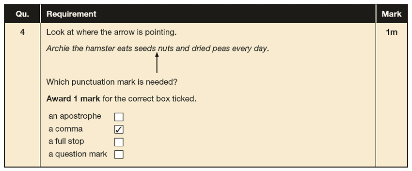 Answer 04 SPaG KS1 SATs Papers 2017 - Year 2 English Practice Paper 2, Punctuation