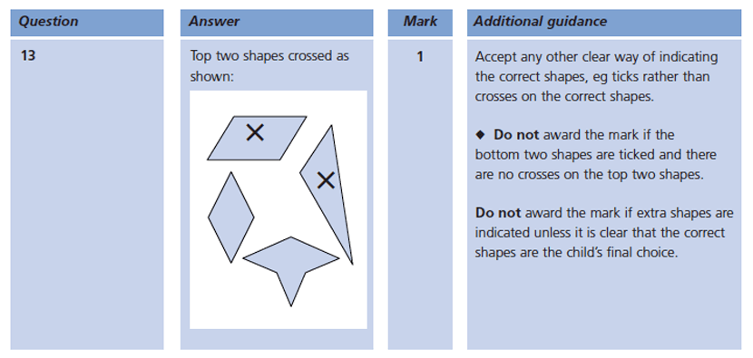 Answer 13 Maths KS1 SATs Papers 2004 - Year 2 Exam Paper 2, Geometry, Lines of symmetry
