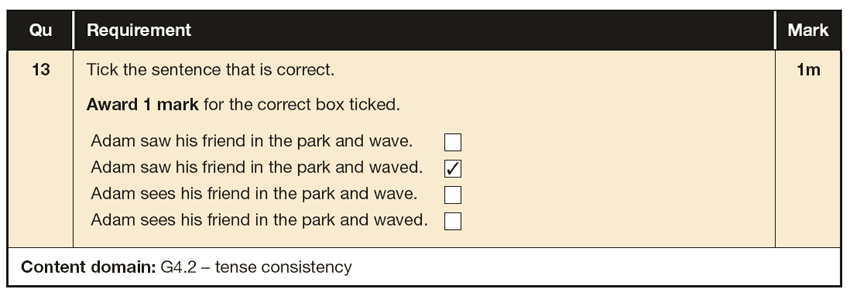 Answer 13 SPaG KS1 SATs Papers 2016 - Year 2 English Sample Paper 2, Verb tenses and consistency