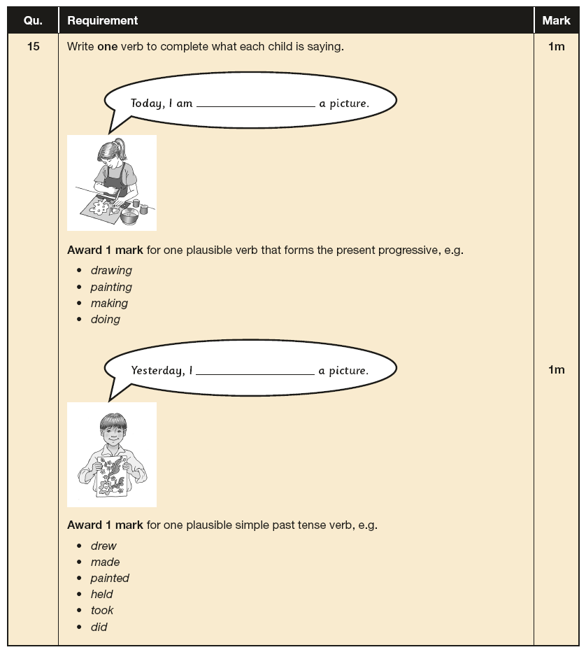 Answer 15 SPaG KS1 SATs Papers 2017 - Year 2 English Exam Paper 2, Verb tenses and consistency