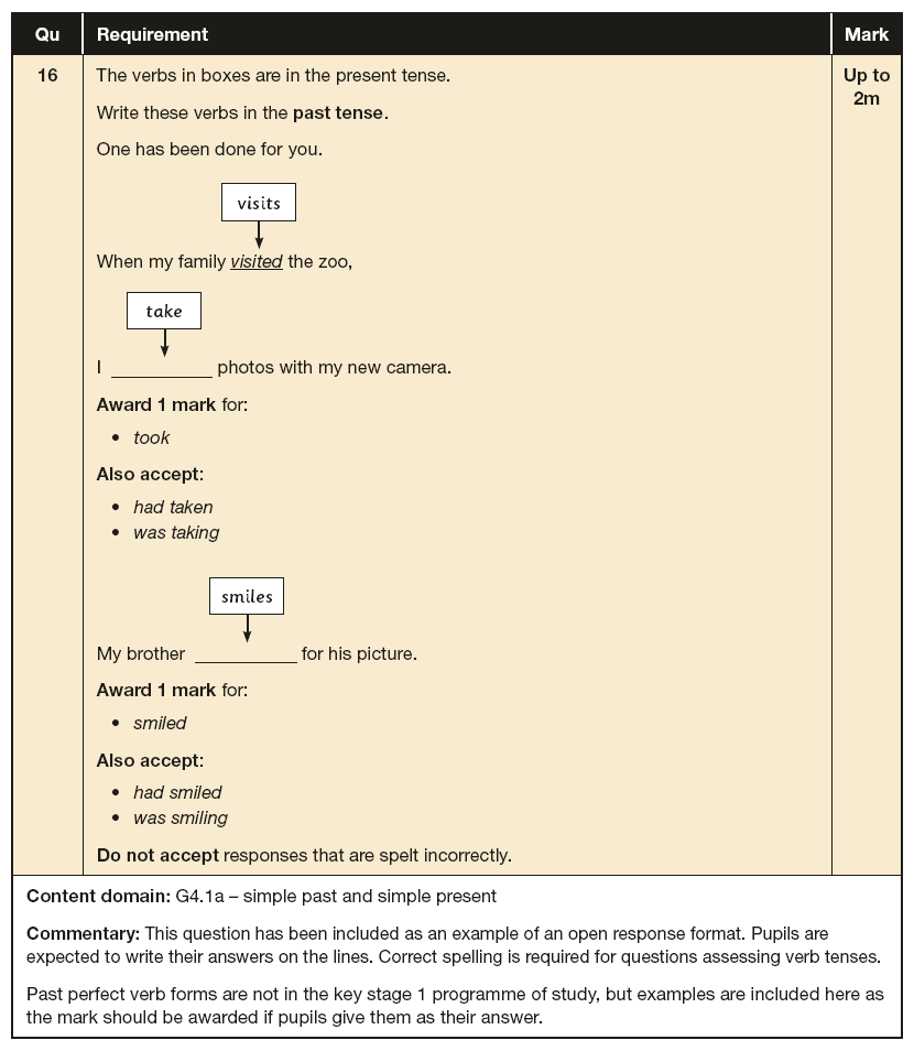 Answer 16 SPaG KS1 SATs Papers 2016 - Year 2 English Past Paper 2, Verb tenses and consistency