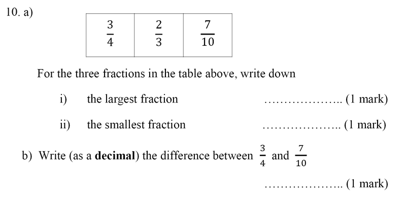Bancroft's School - Sample 11+ Maths Paper 2020 Question 12, Numbers, Order and Compare Numbers, Decimals, Fractions