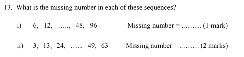 Bancroft's School - Sample 11+ Maths Paper 2020 Question 18, Number Patterns and Sequences