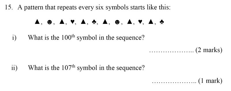 Bancroft's School - Sample 11+ Maths Paper 2020 Question 20, Number Patterns and Sequences, Logical Problems