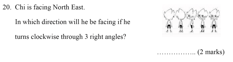 Bancroft's School - Sample 11+ Maths Paper 2020 Question 26, Geometry, Angles, Directions