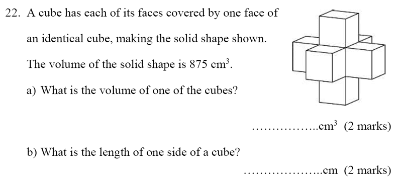 Bancroft's School - Sample 11+ Maths Paper 2020 Question 29, Geometry, 3D Shapes, Volume, Cubes and Cuboids