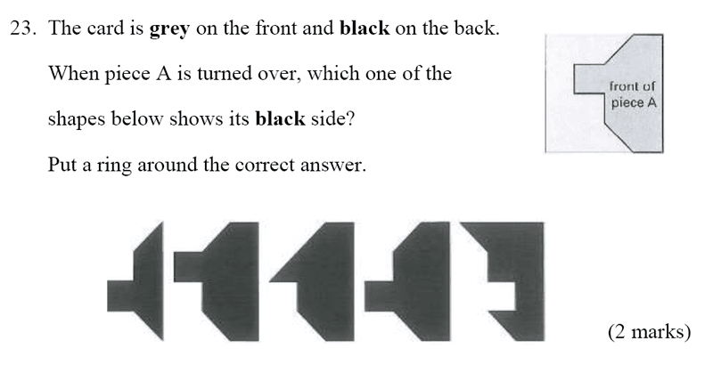 Bancroft's School - Sample 11+ Maths Paper 2020 Question 30, Geometry, Reflection, 2D Shapes, Logical Problems