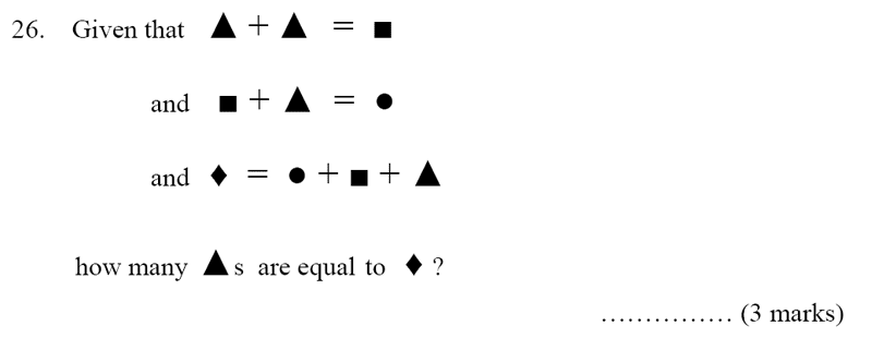 Bancroft's School - Sample 11+ Maths Paper 2020 Question 33, Algebra, Substitution, Logical Problems