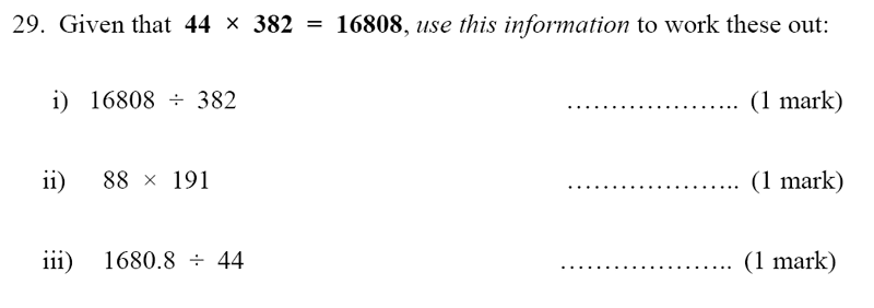 Bancroft's School - Sample 11+ Maths Paper 2020 Question 36, Numbers, Multiplication, Division, decimal manipulation