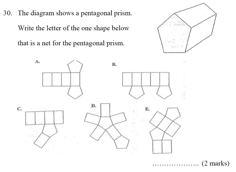 Bancroft's School - Sample 11+ Maths Paper 2020 Question 37, Geometry, Nets of Solids