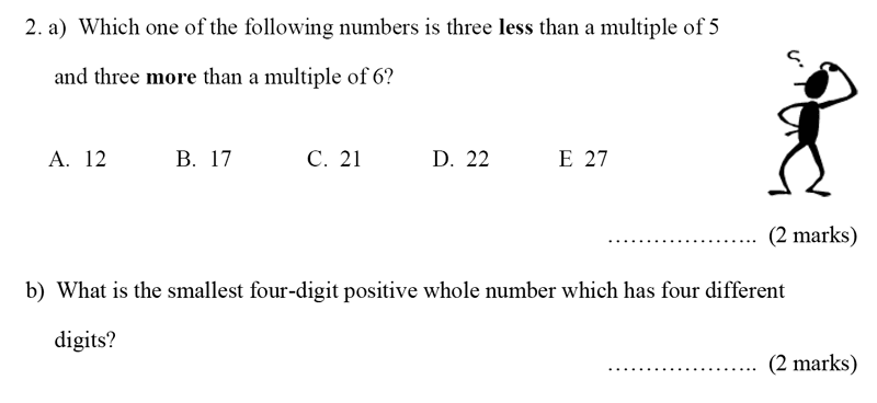 Bancroft's School - Sample 11+ Maths Paper 2020 Question 39, Numbers, Multiples, Place Value, Permutation and Combinations