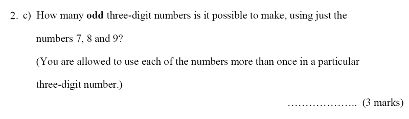 Bancroft's School - Sample 11+ Maths Paper 2020 Question 40, Numbers, Multiples, Place Value, Permutation and Combinations