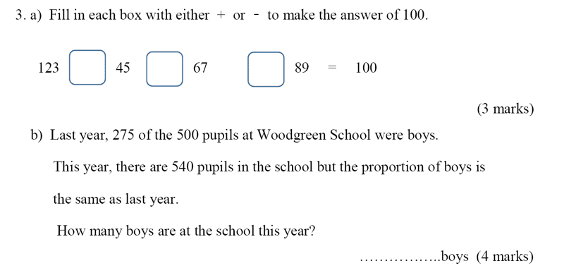 Bancroft's School - Sample 11+ Maths Paper 2020 Question 41, Numbers, Subtraction, Addition, Ratio and Proportion