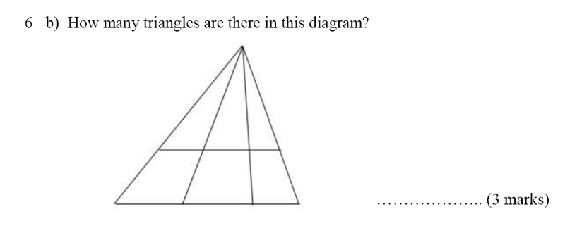 Bancroft's School - Sample 11+ Maths Paper 2020 Question 46, Numbers, Counting, Geometry, Triangles