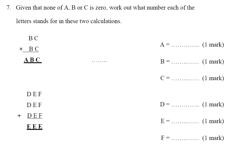 Bancroft's School - Sample 11+ Maths Paper 2020 Question 47, Numbers, Multiplication, Addition, Logical Problems