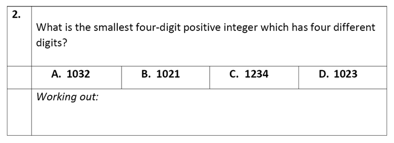 Eltham College - 11 Plus Maths Sample Paper - 2020 Question 02, Numbers, Subtraction