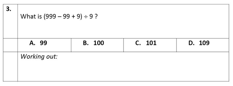 Eltham College - 11 Plus Maths Sample Paper - 2020 Question 03, Algebra, BIDMAS
