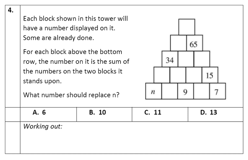 Eltham College - 11 Plus Maths Sample Paper - 2020 Question 04, Numbers, Addition, Word Problems, Logical Problems