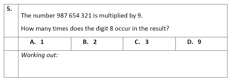 Eltham College - 11 Plus Maths Sample Paper - 2020 Question 05, Numbers, Multiplication, Word Problems, Counting