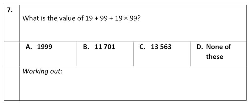 Eltham College - 11 Plus Maths Sample Paper - 2020 Question 07, Algebra, BIDMAS
