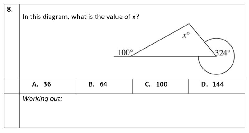 Eltham College - 11 Plus Maths Sample Paper - 2020 Question 08, Geometry, Angles, Triangles