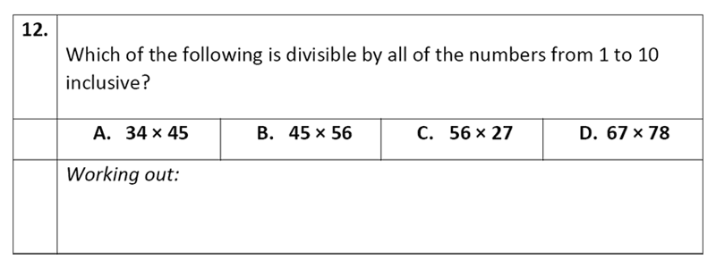 Eltham College - 11 Plus Maths Sample Paper - 2020 Question 12, Numbers, Division, Word Problems, Logical Problems