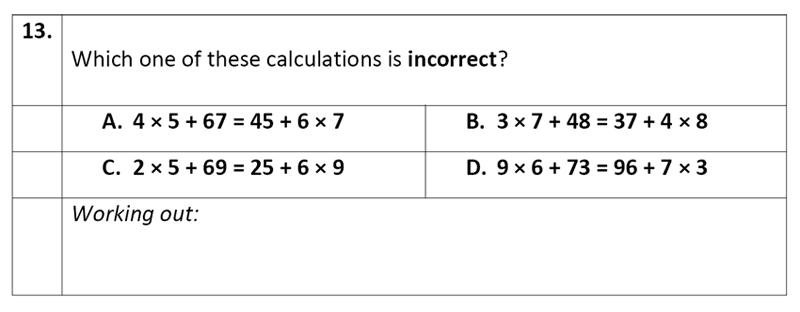 Eltham College - 11 Plus Maths Sample Paper - 2020 Question 13, Algebra, BIDMAS