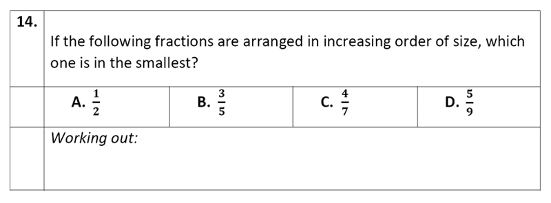 Eltham College - 11 Plus Maths Sample Paper - 2020 Question 14, Numbers, Order and Compare Numbers, Decimals, Fractions