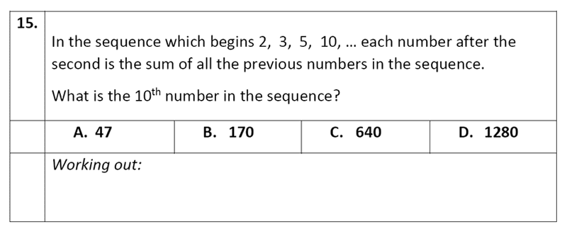 Eltham College - 11 Plus Maths Sample Paper - 2020 Question 15, Number Patterns and Sequences, Logical Problems