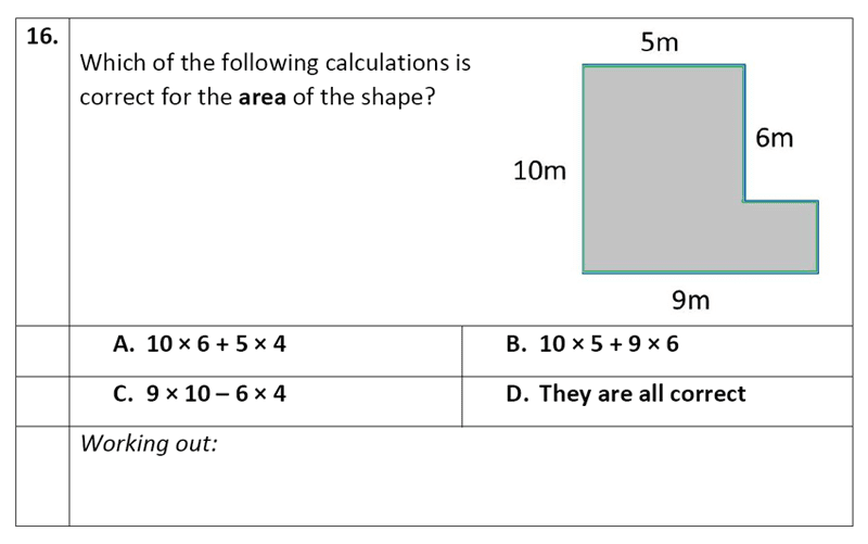 Eltham College - 11 Plus Maths Sample Paper - 2020 Question 16, Geometry, Area & Perimeter, Rectangle, Compound Shapes