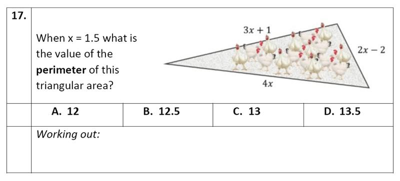 Eltham College - 11 Plus Maths Sample Paper - 2020 Question 17, Geometry, Area & Perimeter, Triangle, Algebra, Substitution