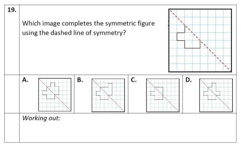 Eltham College - 11 Plus Maths Sample Paper - 2020 Question 19, Geometry, Reflection