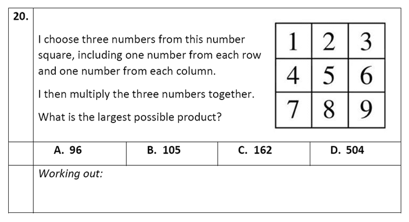 Eltham College - 11 Plus Maths Sample Paper - 2020 Question 20, Numbers, Multiplication, Logical Problems