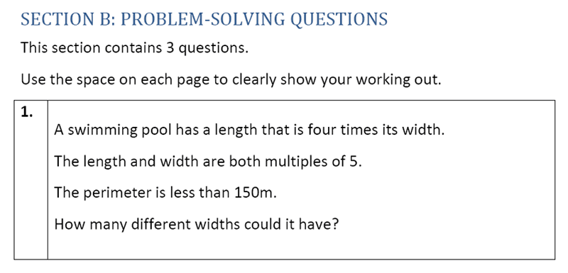 Eltham College - 11 Plus Maths Sample Paper - 2020 Question 21, Numbers, Multiples, Word Problems, Logical Problems, Geometry, Area & Perimeter