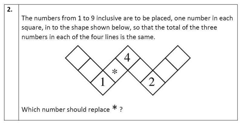 Eltham College - 11 Plus Maths Sample Paper - 2020 Question 22, Numbers, Addition, Logical Problems