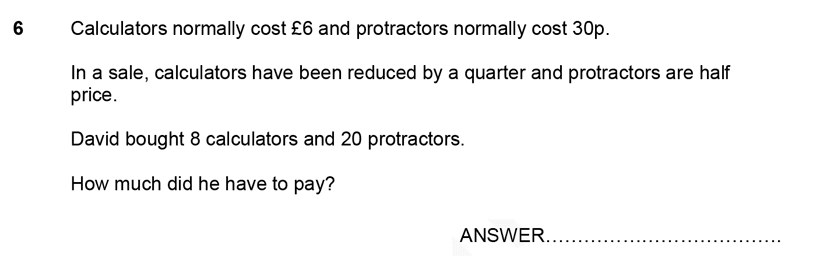 Forest School - 11 Plus Maths Sample Paper 1 - 2020 Question 06, Numbers, Word Problems, Money, Currency Conversions