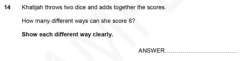 Forest School - 11 Plus Maths Sample Paper 1 - 2020 Question 14, Permutation and Combinations, Logical Problems