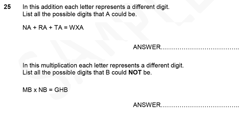 Forest School - 11 Plus Maths Sample Paper 1 - 2020 Question 25, Numbers, Multiplication, Addition, Place value, Logical Problems