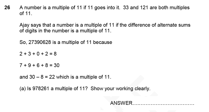Forest School - 11 Plus Maths Sample Paper 1 - 2020 Question 26, Numbers, Multiples, Word Problems, Logical Problems