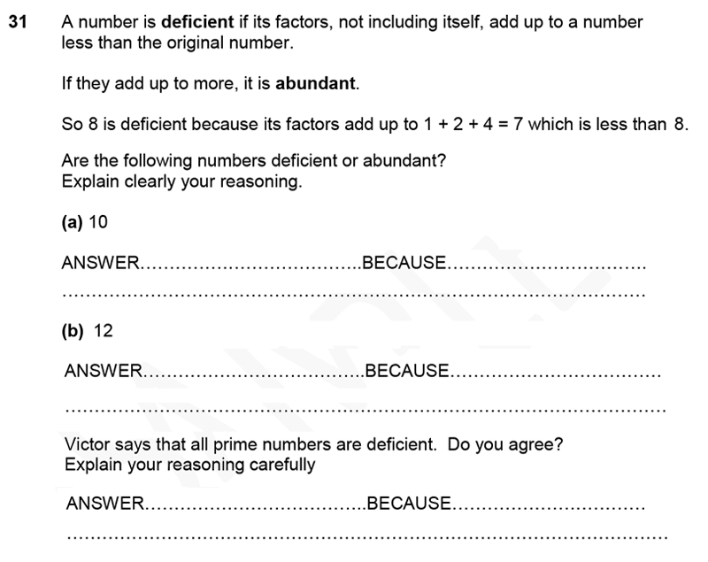 Forest School - 11 Plus Maths Sample Paper 1 - 2020 Question 32, Numbers, Factors, Prime Numbers, Addition, Logical Problems