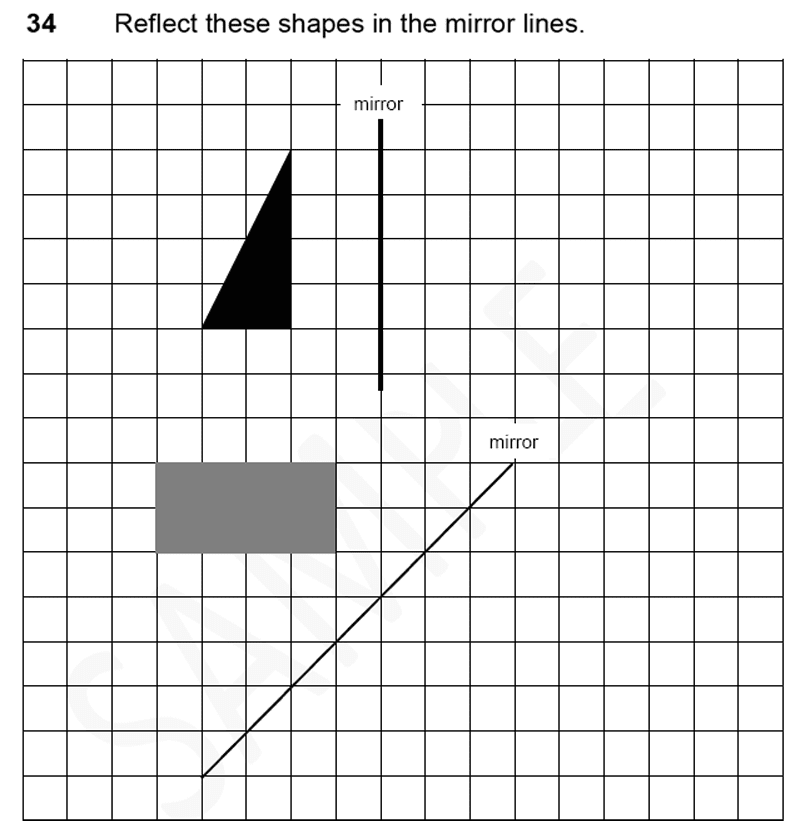 Forest School - 11 Plus Maths Sample Paper 1 - 2020 Question 35, Geometry, Reflection