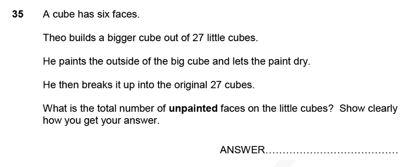 Forest School - 11 Plus Maths Sample Paper 1 - 2020 Question 36, Geometry, Cubes and Cuboids, Logical Problems