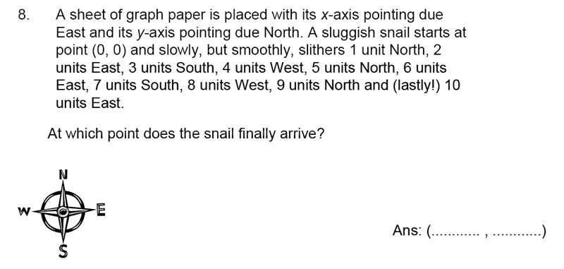 James Allen's Girls' School - 11+ Maths Sample Paper 1 - 2020 Question 08, Numbers, Word Problems, Logical Problems, Geometry, Coordinates, Directions
