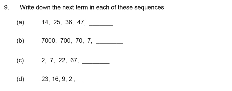 James Allen's Girls' School - 11+ Maths Sample Paper 1 - 2020 Question 09, Number Patterns and Sequences