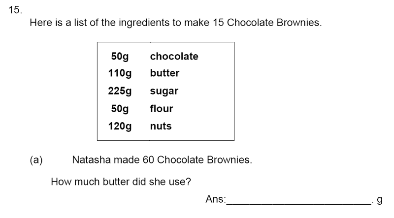 James Allen's Girls' School - 11+ Maths Sample Paper 1 - 2020 Question 17, Numbers, Decimals, Word Problems, Recipes and Proportions