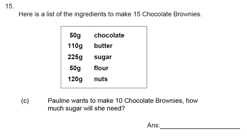 James Allen's Girls' School - 11+ Maths Sample Paper 1 - 2020 Question 19, Numbers, Decimals, Word Problems, Recipes and Proportions