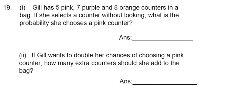 James Allen's Girls' School - 11+ Maths Sample Paper 1 - 2020 Question 23, Numbers, Fractions, Word Problems, Probability
