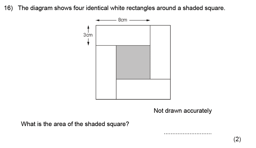 Kent College, Canterbury - 11 Plus Maths Entrance Exam 2020 Question 18, Geometry, Squares, Area & Perimeter, Rectangle, 2D Shapes