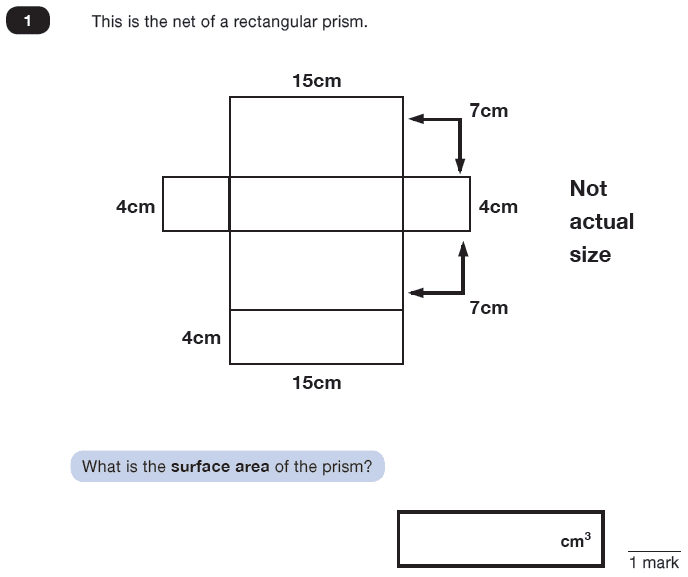 Question 01 Maths KS2 SATs Test Paper 8 - Reasoning Part C